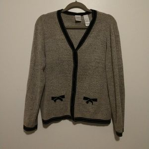 Cute Emma James Women's Grey Cardigan With Bows
